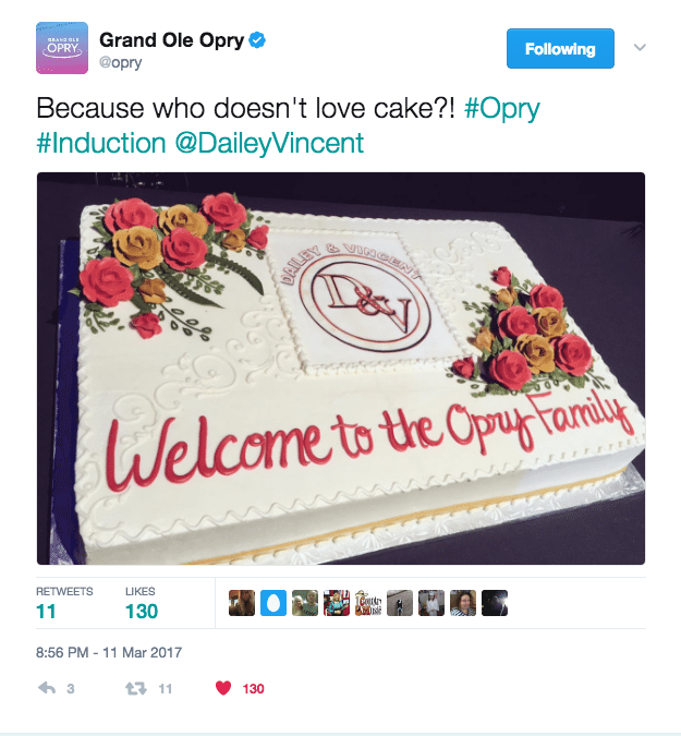 Puffy Muffin Makes Dailey and Vincent Opry Induction Cake!