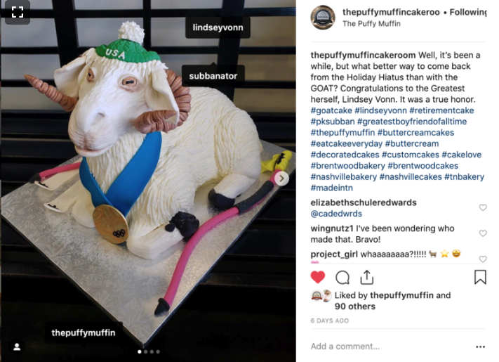 PK Subban Has Puffy Muffin Create Lindey Vonn's GOAT Cake